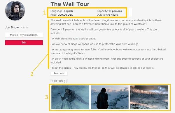Comme résultat, la page des excursions sera ainsi