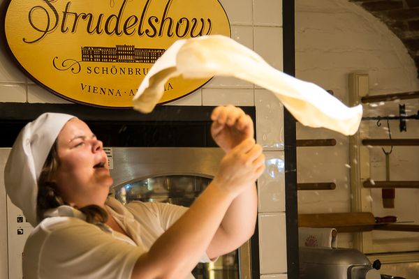 Making a strudel in Vienna is a fascinating show for tourists