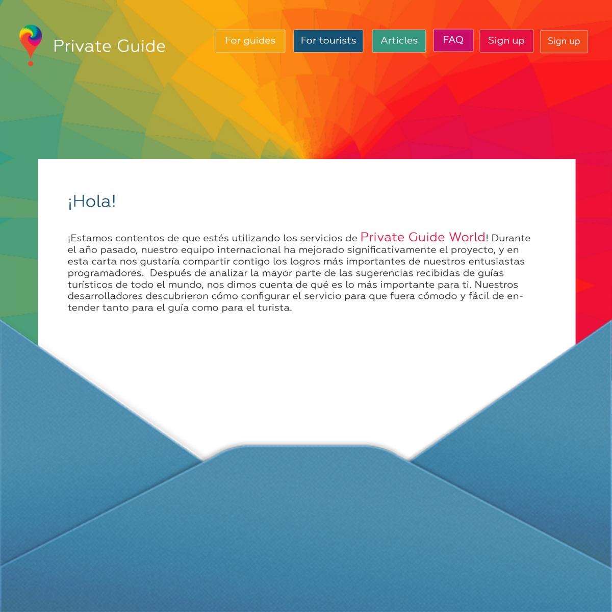 ¡Private Guide Service es feliz de dar la bienvenida a todos los usuarios!  H2: ¡Private Guide añade nuevas funciones útiles regularmente!  H3: ¡Durante el año pasado Private Guide tuvo mucho éxito!  H2: ¡Private Guide trabaja para ti y para tu comodidad!